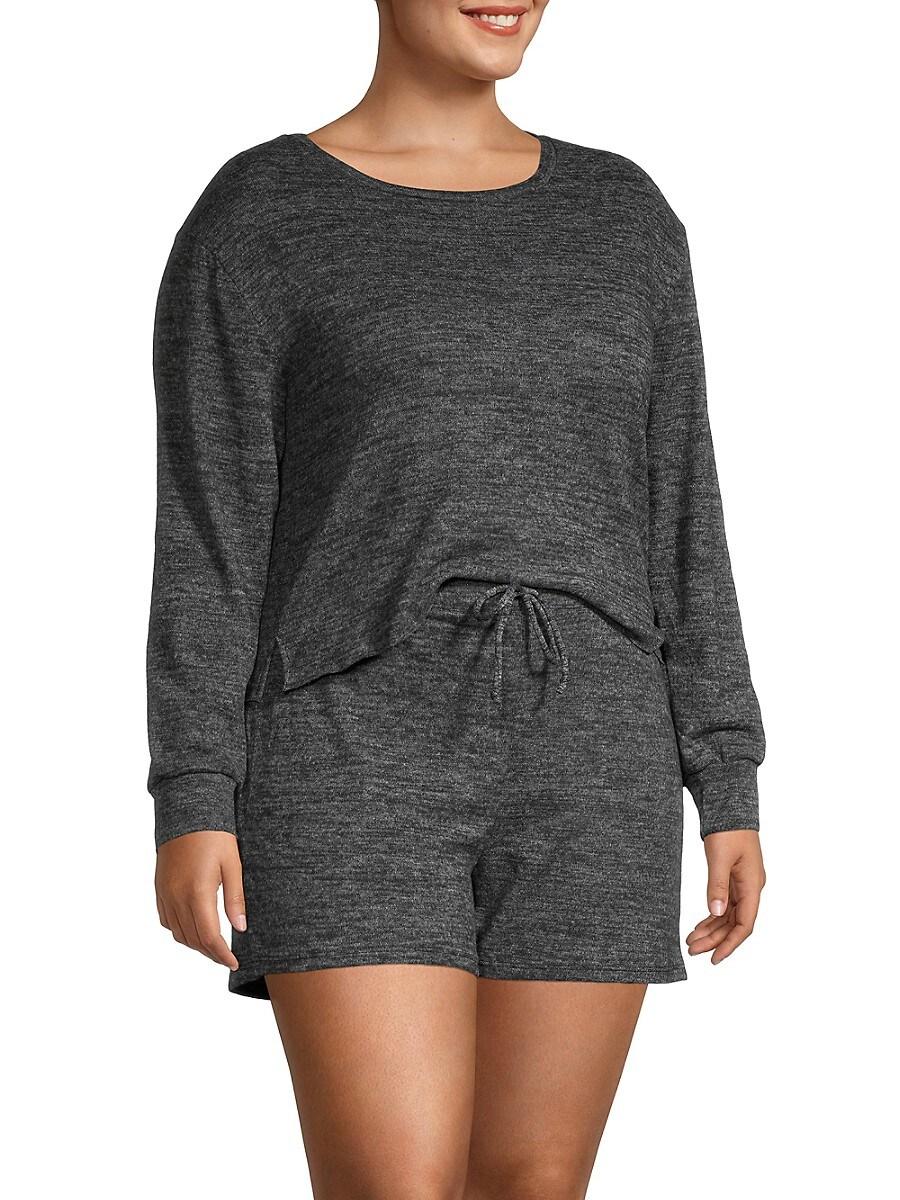 Catherine Malandrino Women's Plus 2-Piece Heathered T-Shirt & Shorts Set - Black - Size 3X (22-24)