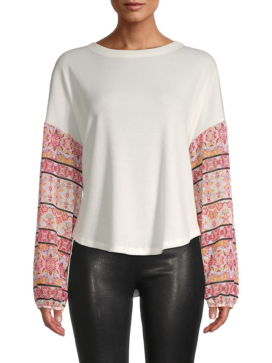 Women's Boho Print-Sleeve Top