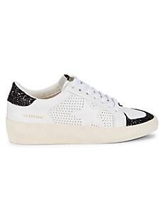 Vintage Havana Glitter Star Patch Leather Sneakers,WHITE BLACK
