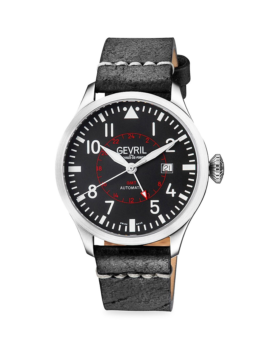 Men's Vaughn Swiss Automatic Stainless Steel & Leather-Strap Watch