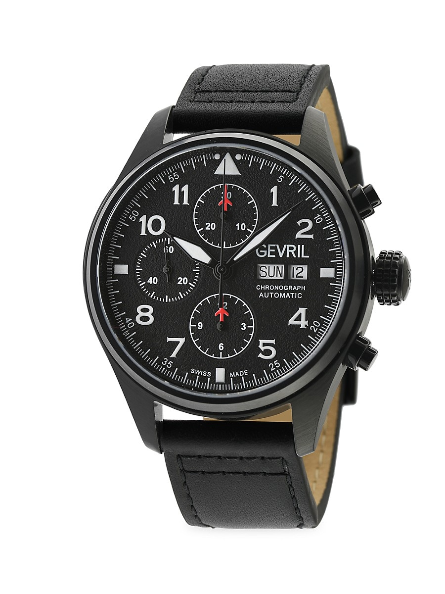 Men's Vaughn Swiss Automatic Chrono Stainless Steel & Leather-Strap Watch