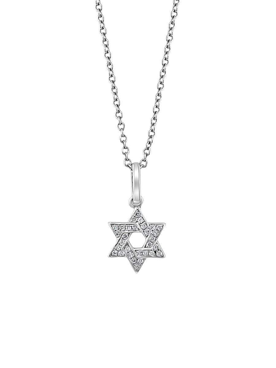 Women's Sterling Silver & 0.08 TCW Diamond Star Of David Pendant Necklace