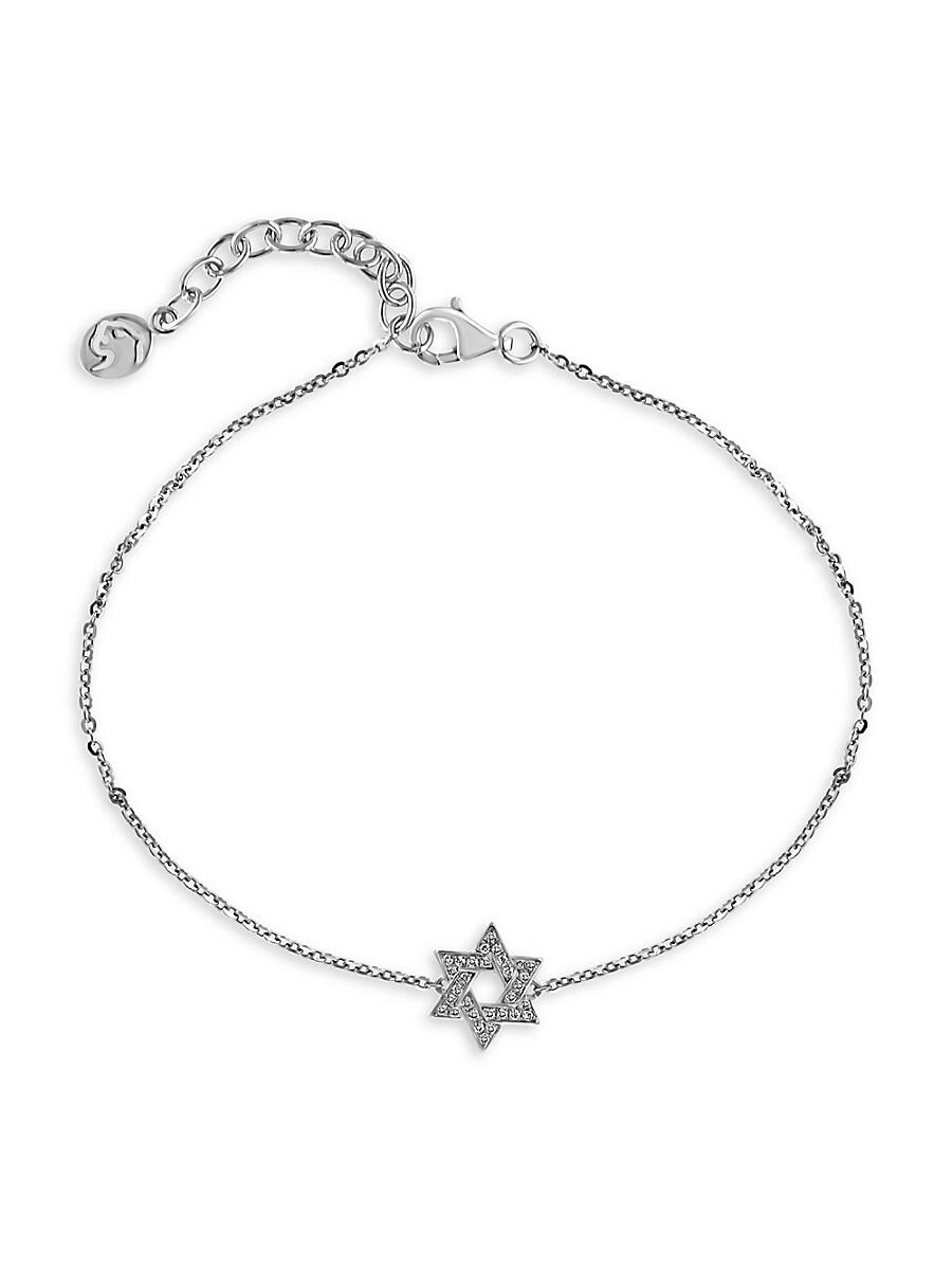 Women's Sterling Silver & Diamond Star Of David Bracelet