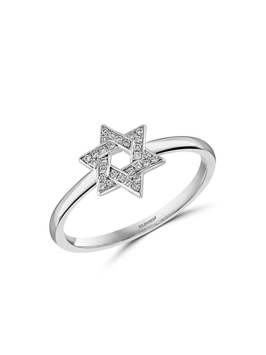 Women's Sterling Silver & Diamond Star Of David Ring
