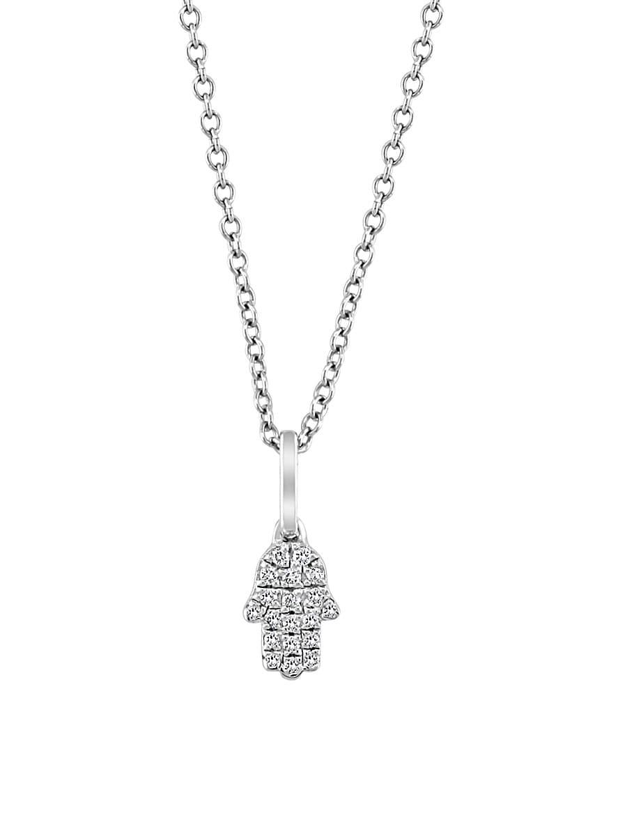 Women's Sterling Silver & 0.06 TCW Diamond Hamsa Pendant Necklace
