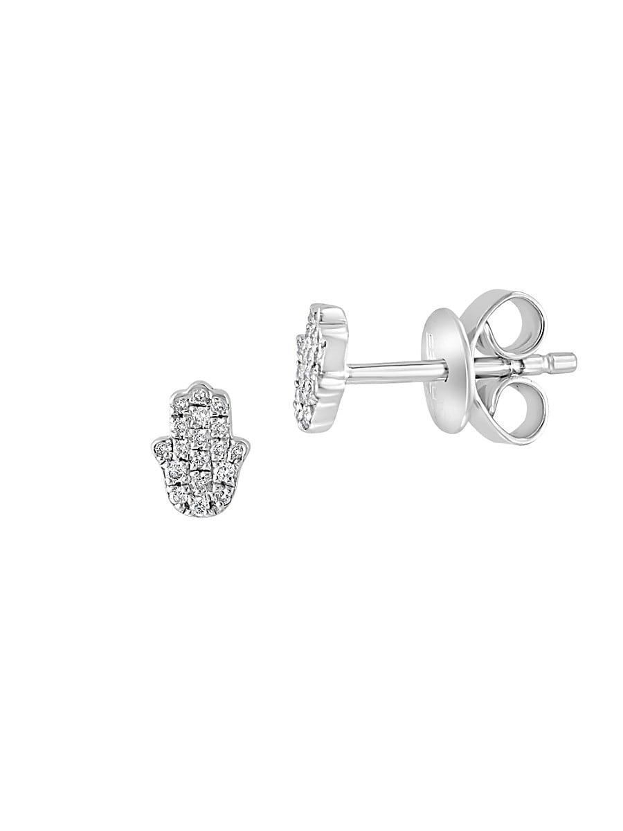 Women's Sterling Silver & 0.1 TCW Diamond Hamsa Stud Earrings