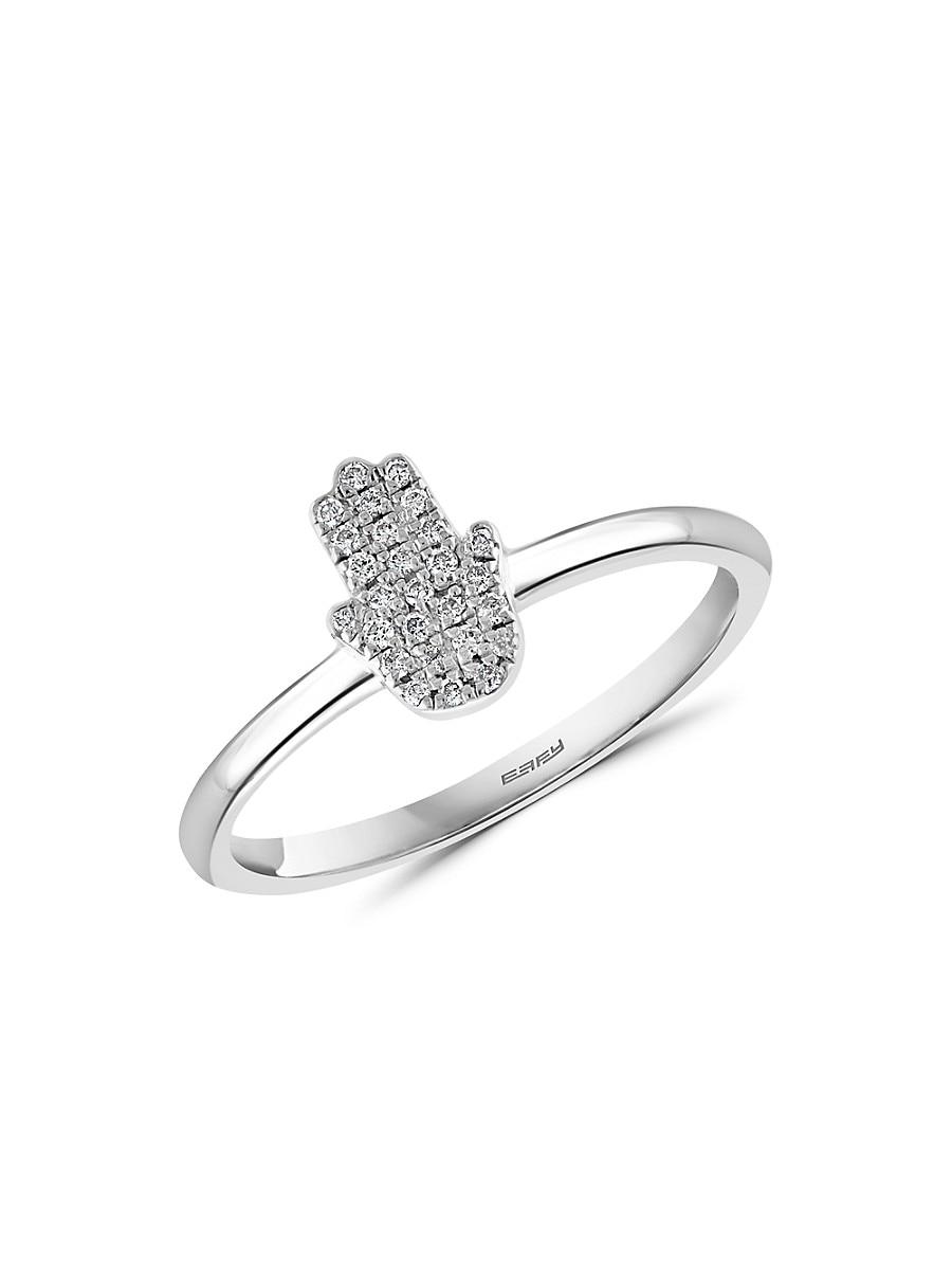 Women's Eny Sterling Silver & Diamond Hamsa Ring