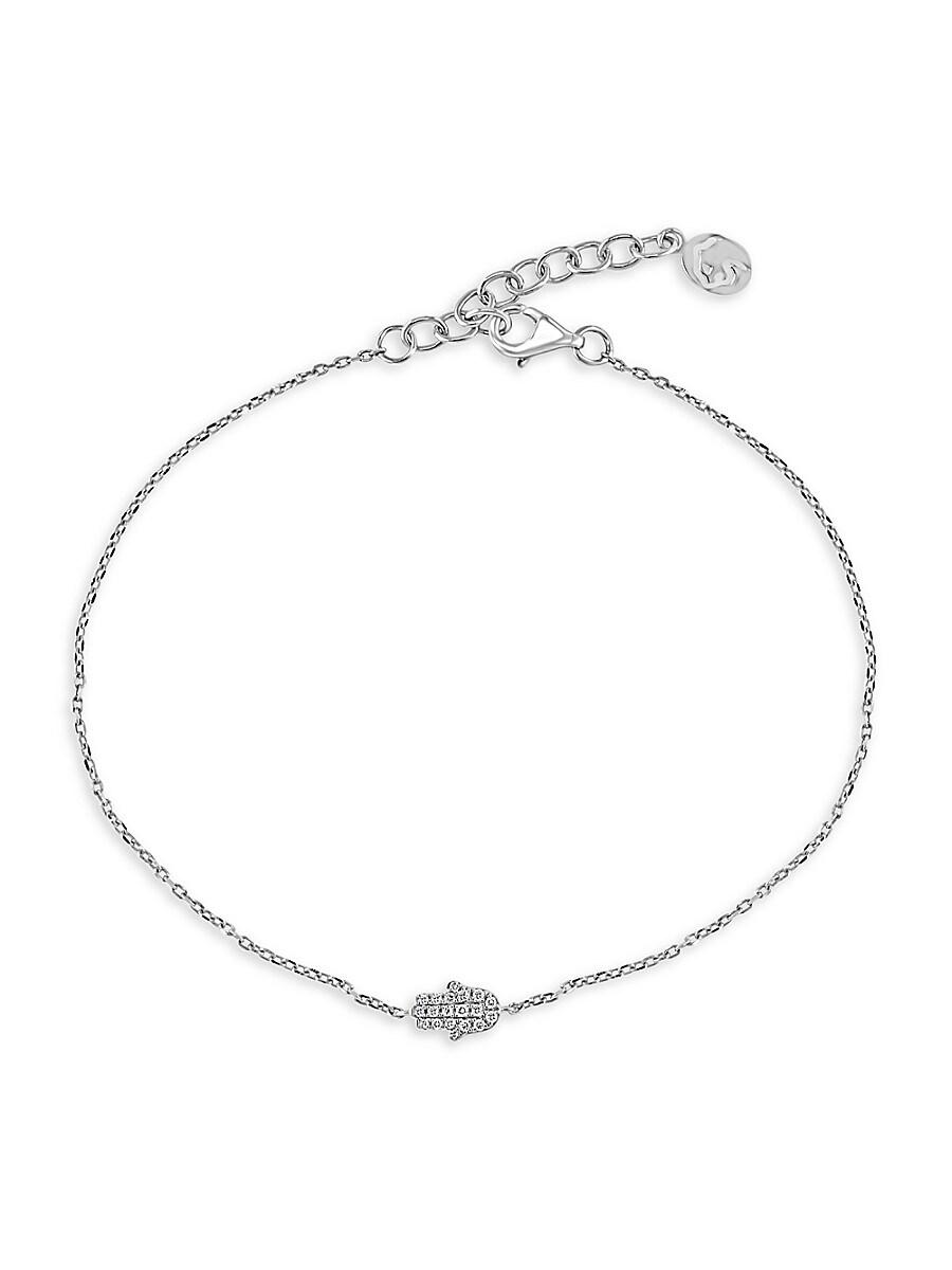 Women's Sterling Silver & Diamond Hamsa Bracelet