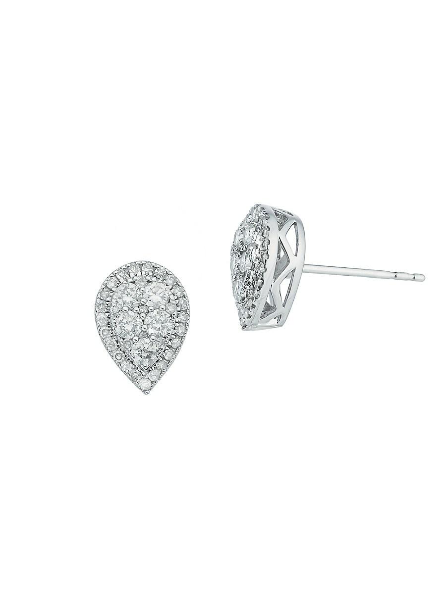 Women's Sterling Silver & 0.47 TCW Diamond Stud Earrings