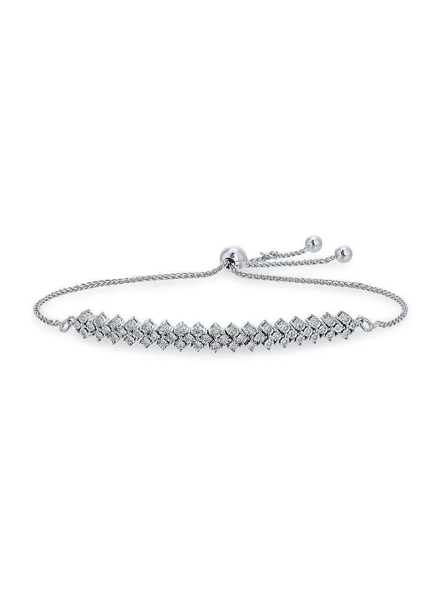 Women's Sterling Silver & 0.23 TCW Diamond Bolo Bracelet