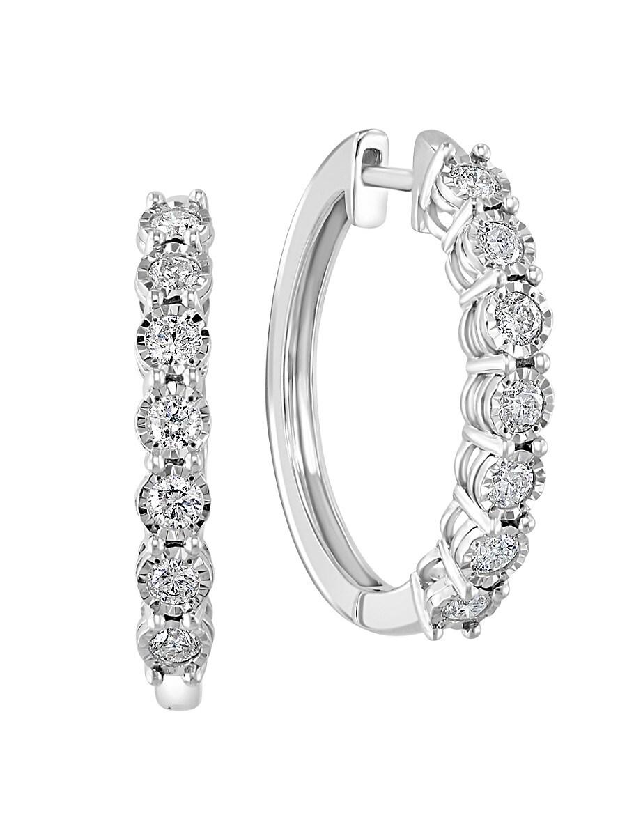 Women's Sterling Silver & 0.96 TCW Diamond Hoop Earrings