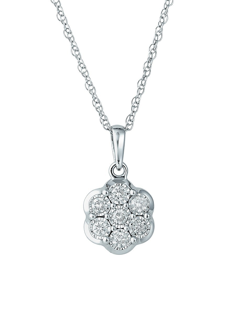 "Women's Sterling Silver & 0.23 TCW Diamond Pendant Necklace/16"""