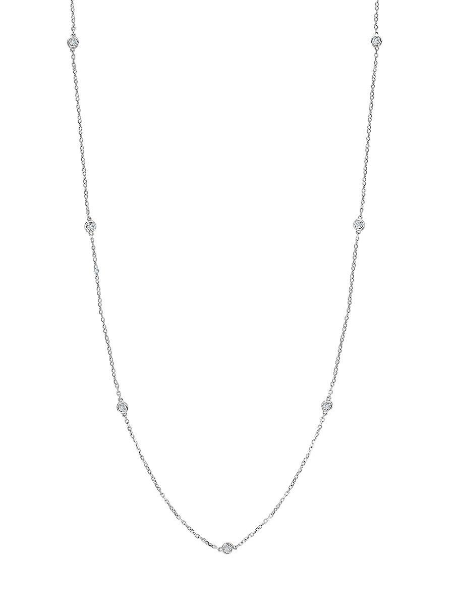 "Women's Sterling Silver & 0.23 TCW Diamond Necklace/36"""