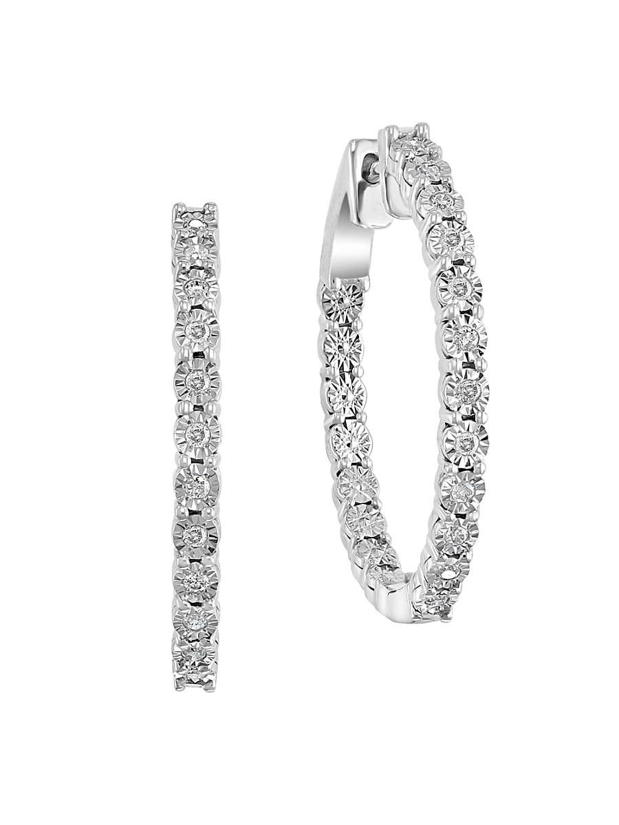 Women's Sterling Silver & 0.21 TCW Diamond Hoop Earrings