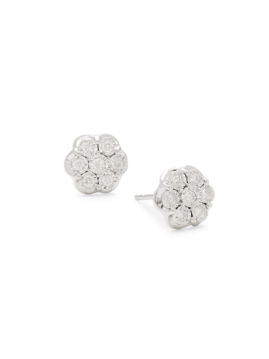 Women's Sterling Silver Diamond Earrings