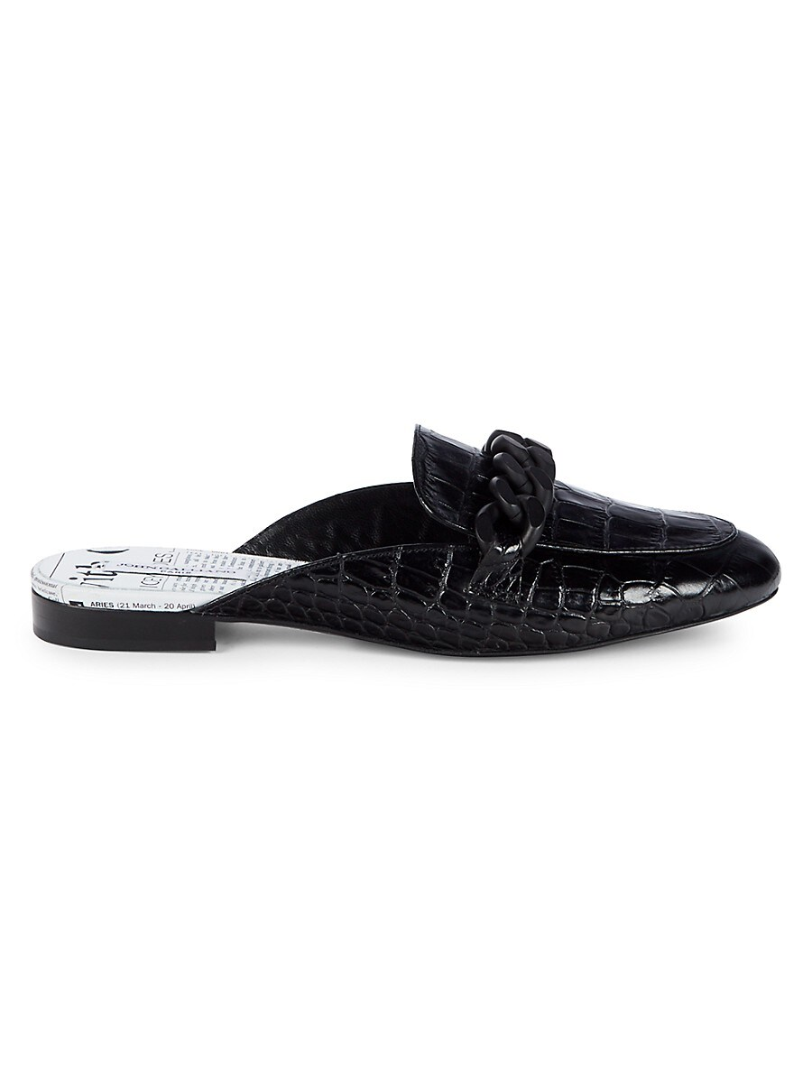 Men's Chain Croc-Embossed Leather Mules