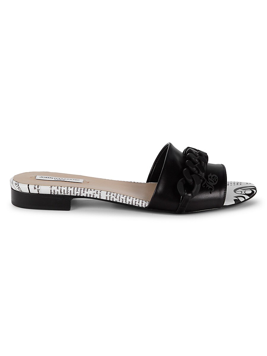 Women's Chain Leather Slides