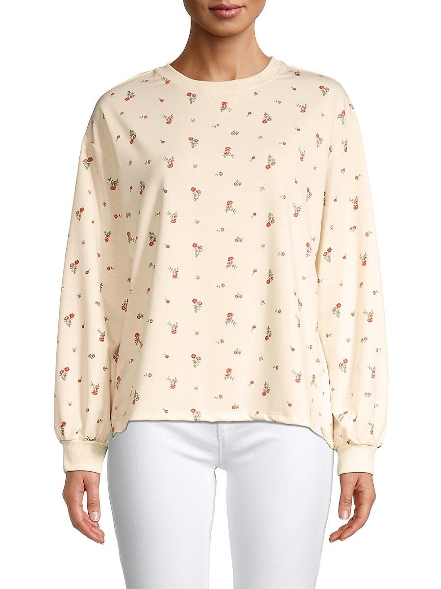 Women's Bishop-Sleeve Floral Sweatshirt