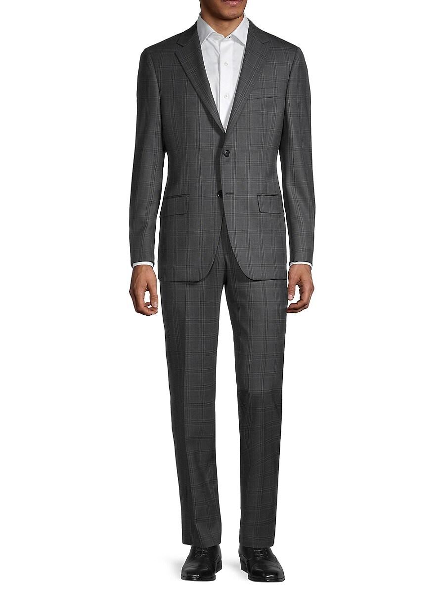 Men's Milburn IIM Series Regular-Fit Check Wool Suit