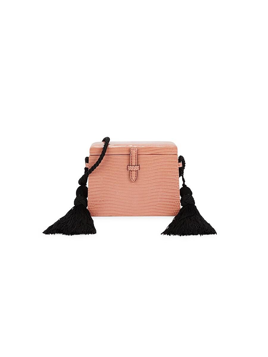 Women's Mini Square Trunk Lizard Leather Crossbody Bag