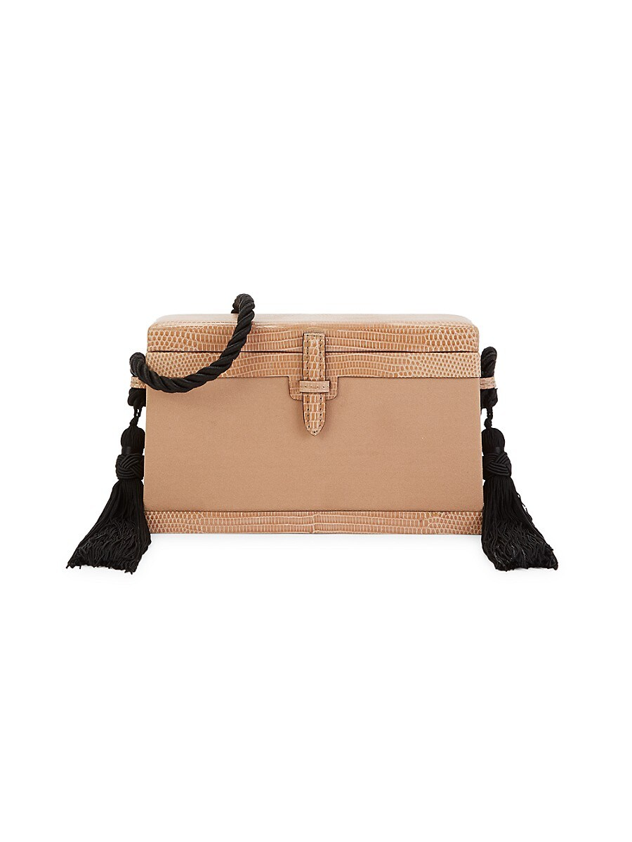 Women's Mini Square Trunk Lizard Leather-Trim Satin Crossbody Bag