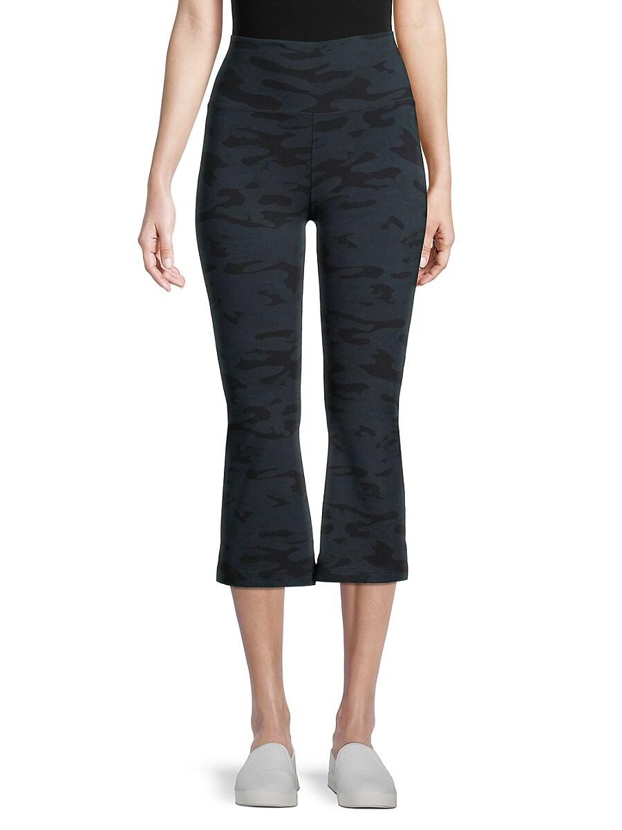 Women's Rolldown Camo-Print Flare Capri Yoga Pants