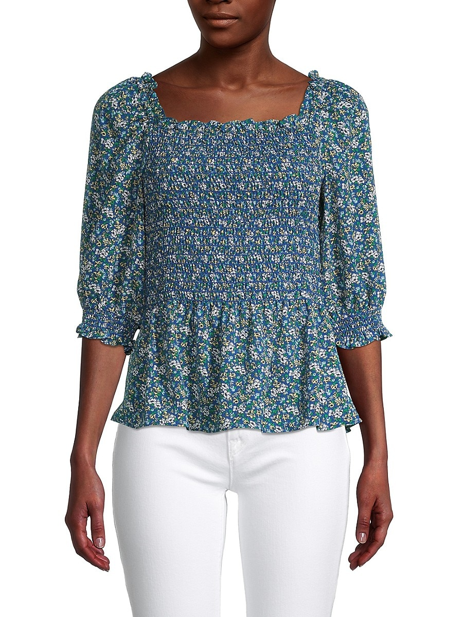 Women's Floral-Print Smocked Top