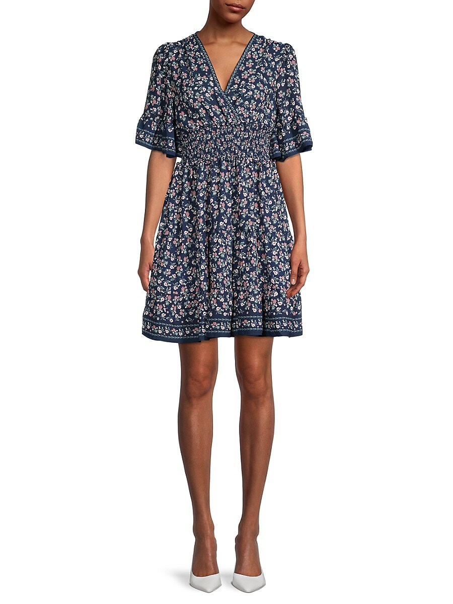 Women's Floral Flutter-Sleeve Dress