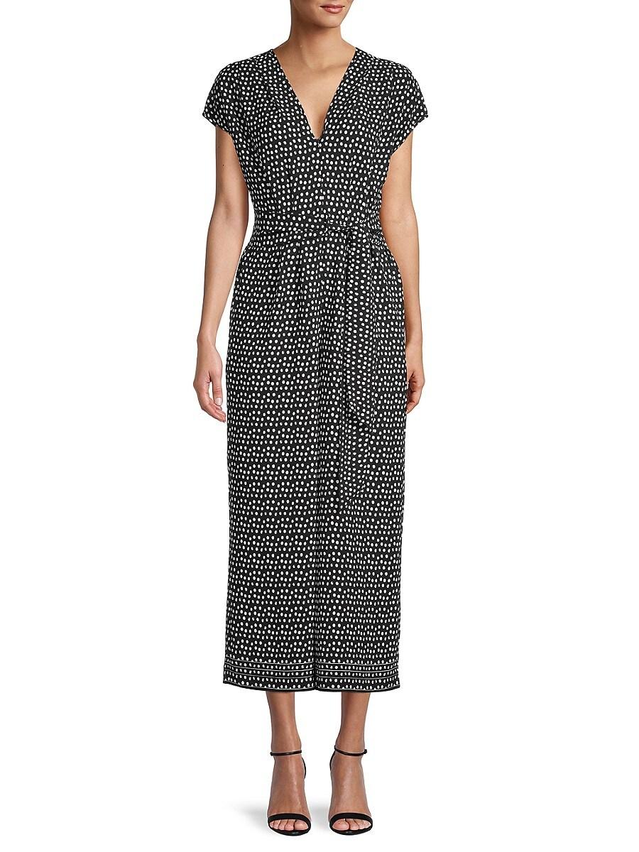 Women's Belted Dot-Print Jumpsuit