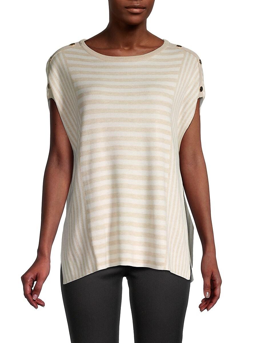Women's Striped Stud Poncho