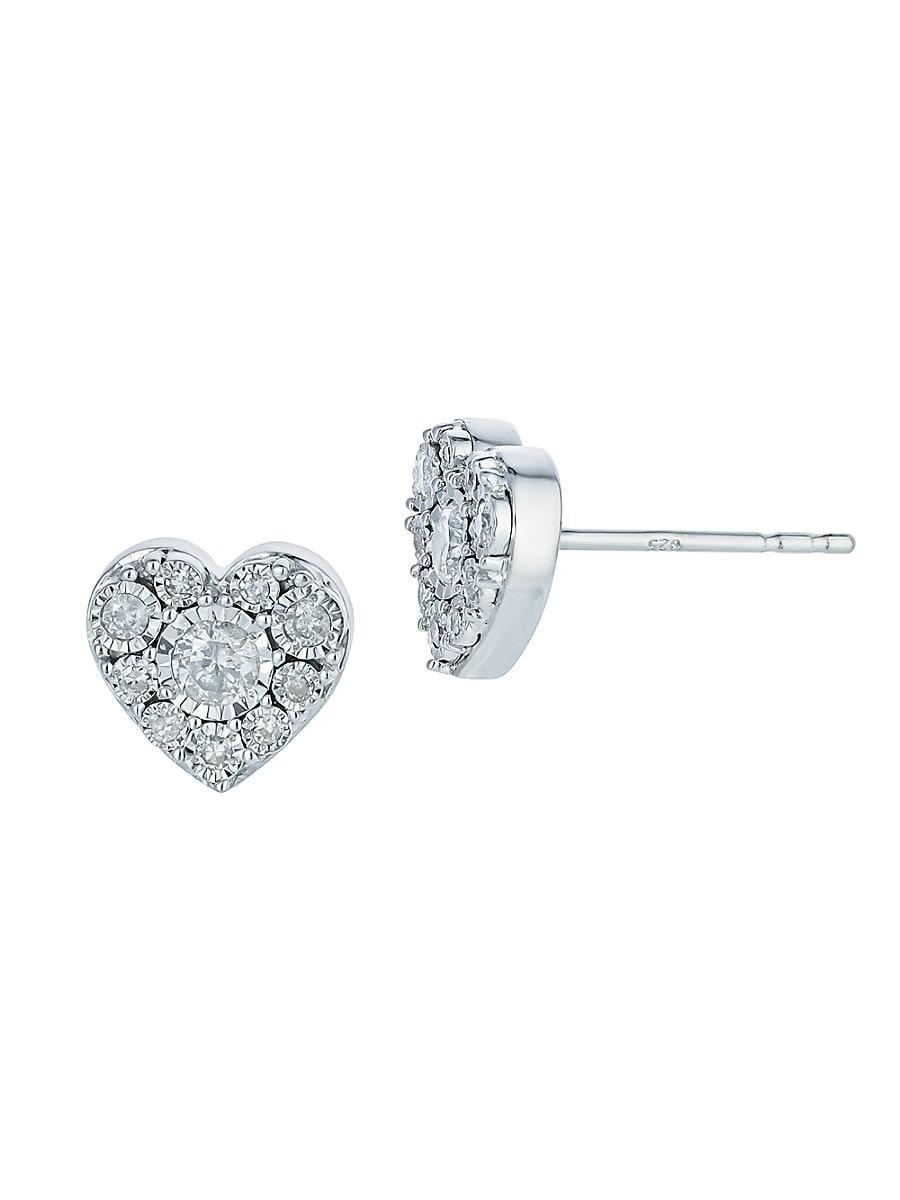 Women's Heart Sterling Silver & 0.23 TCW Diamond Stud Earrings