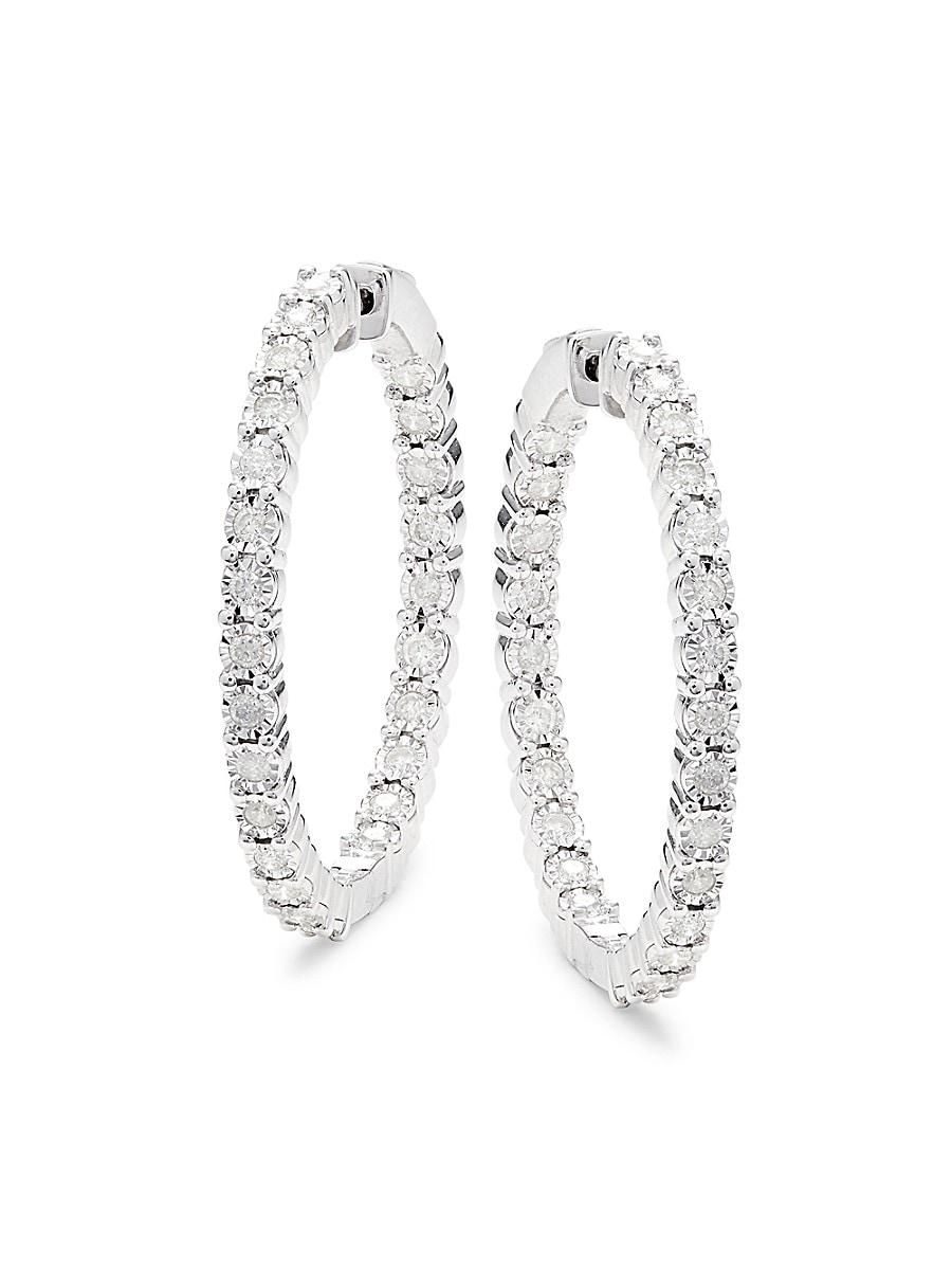Women's Sterling Silver & 1.08 TCW Diamond Hoop Earrings
