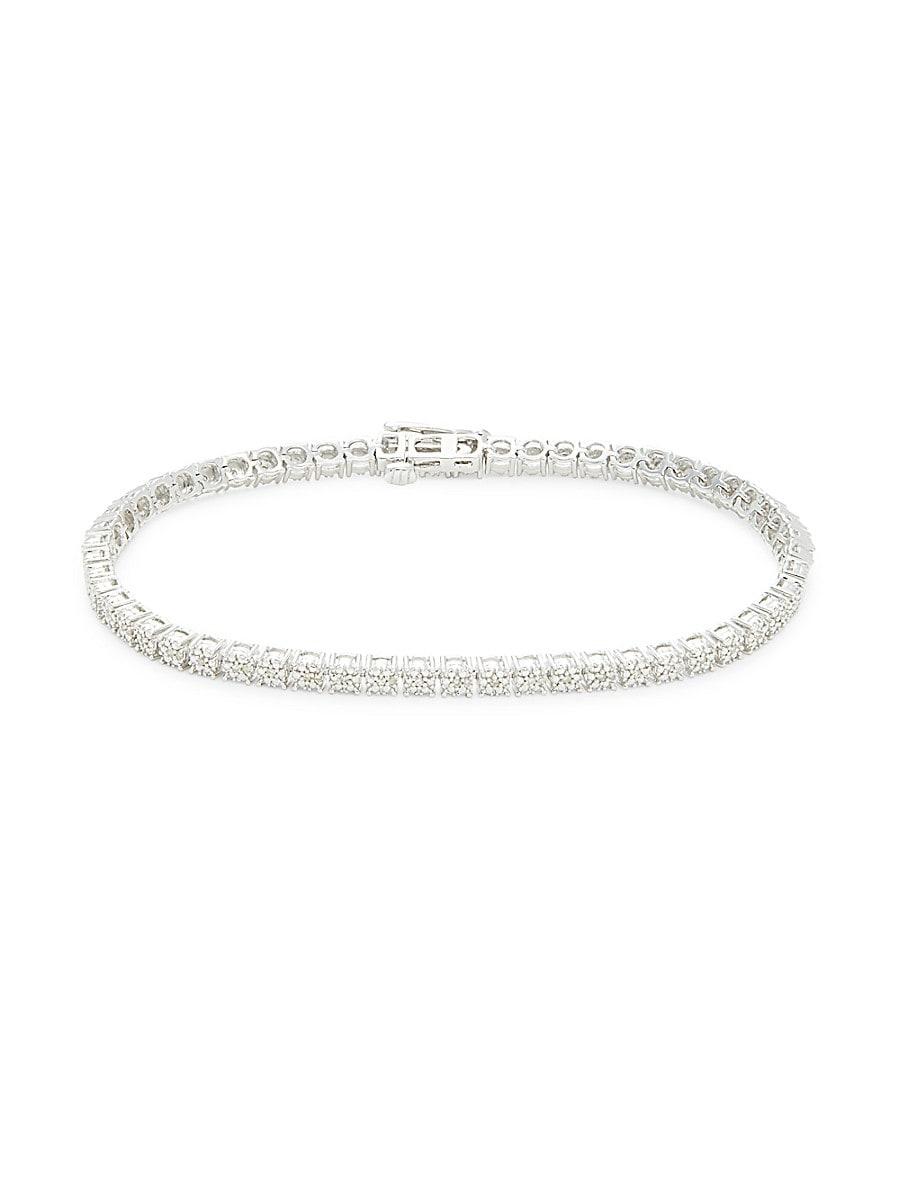 Women's Sterling Silver & 0.25 TCW Diamond Tennis Bracelet