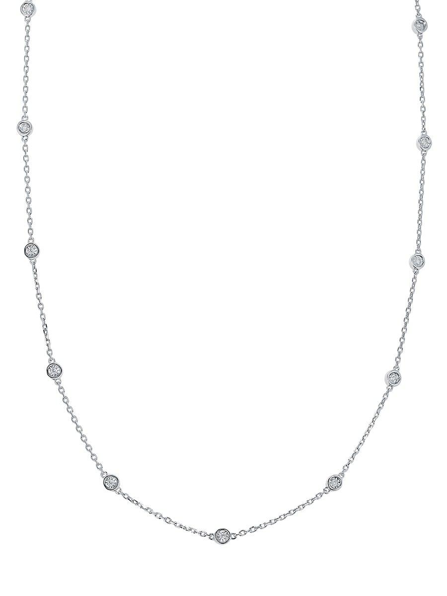 Women's Sterling Silver & 0.24 TCW Diamond Station Necklace