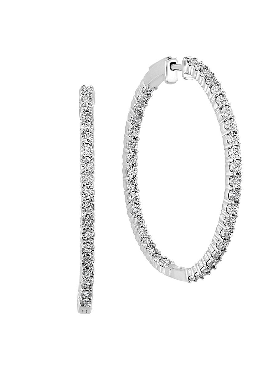Women's Sterling Silver & 0.46 TCW Diamond Hoop Earrings