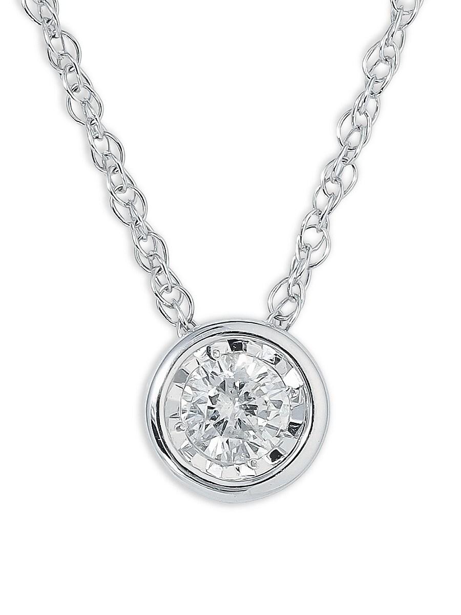 "Women's Sterling Silver & 0.18 TCW Diamond Pendant Necklace/18"""