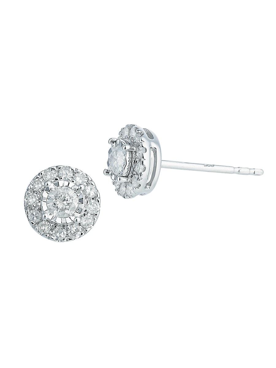 Women's Sterling Silver & 0.3 TCW Diamond Stud Earrings