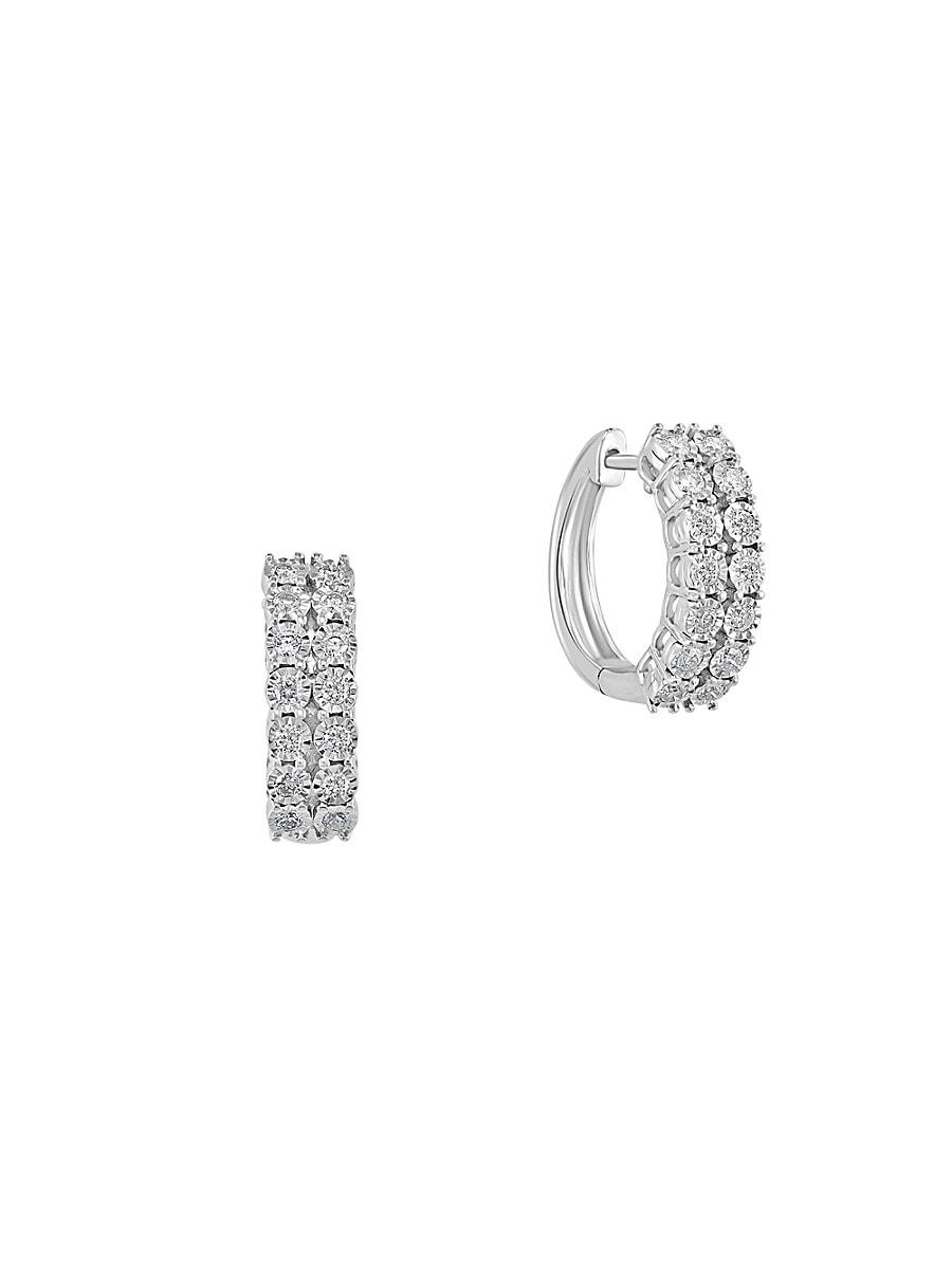 Women's Sterling Silver & 0.47 TCW Diamond Huggie Earrings