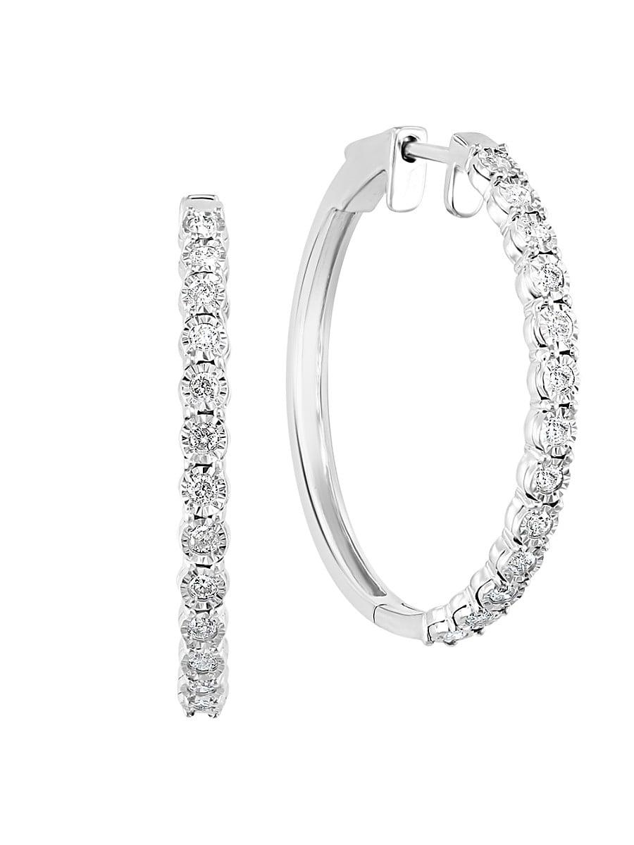 Women's Sterling Silver & 0.54 TCW Diamond Hoop Earrings