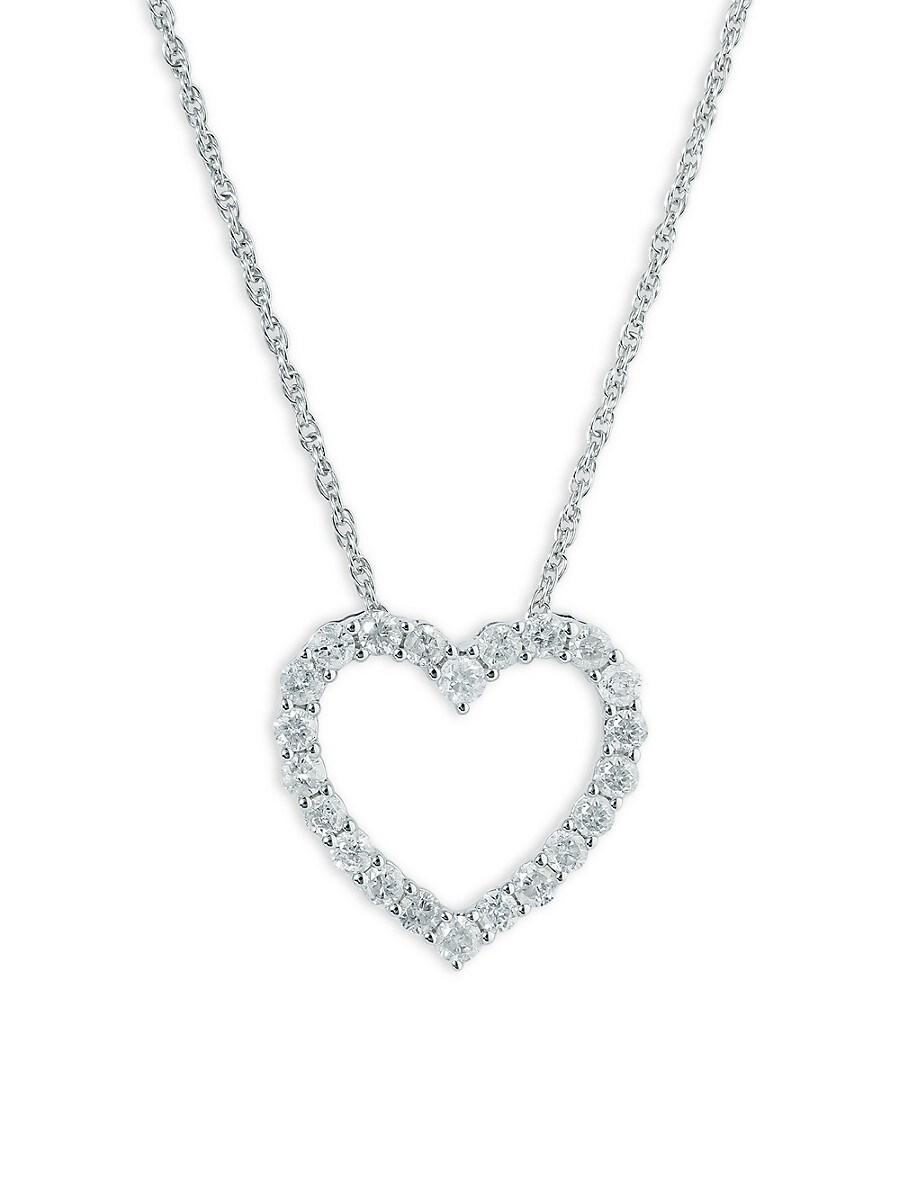 """Women's Sterling Silver & 0.46 TCW Diamond Heart Pendant Necklace/17"""""""