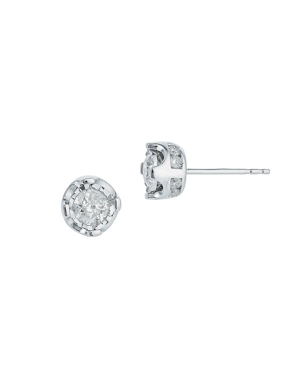 Women's Sterling Silver & 0.96 TCW Diamond Stud Earrings