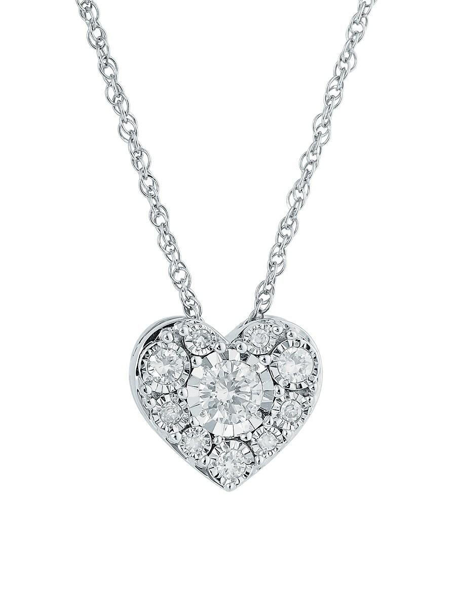 """Women's Sterling Silver & 0.23 TCW Diamond Heart Pendant Necklace/18"""""""