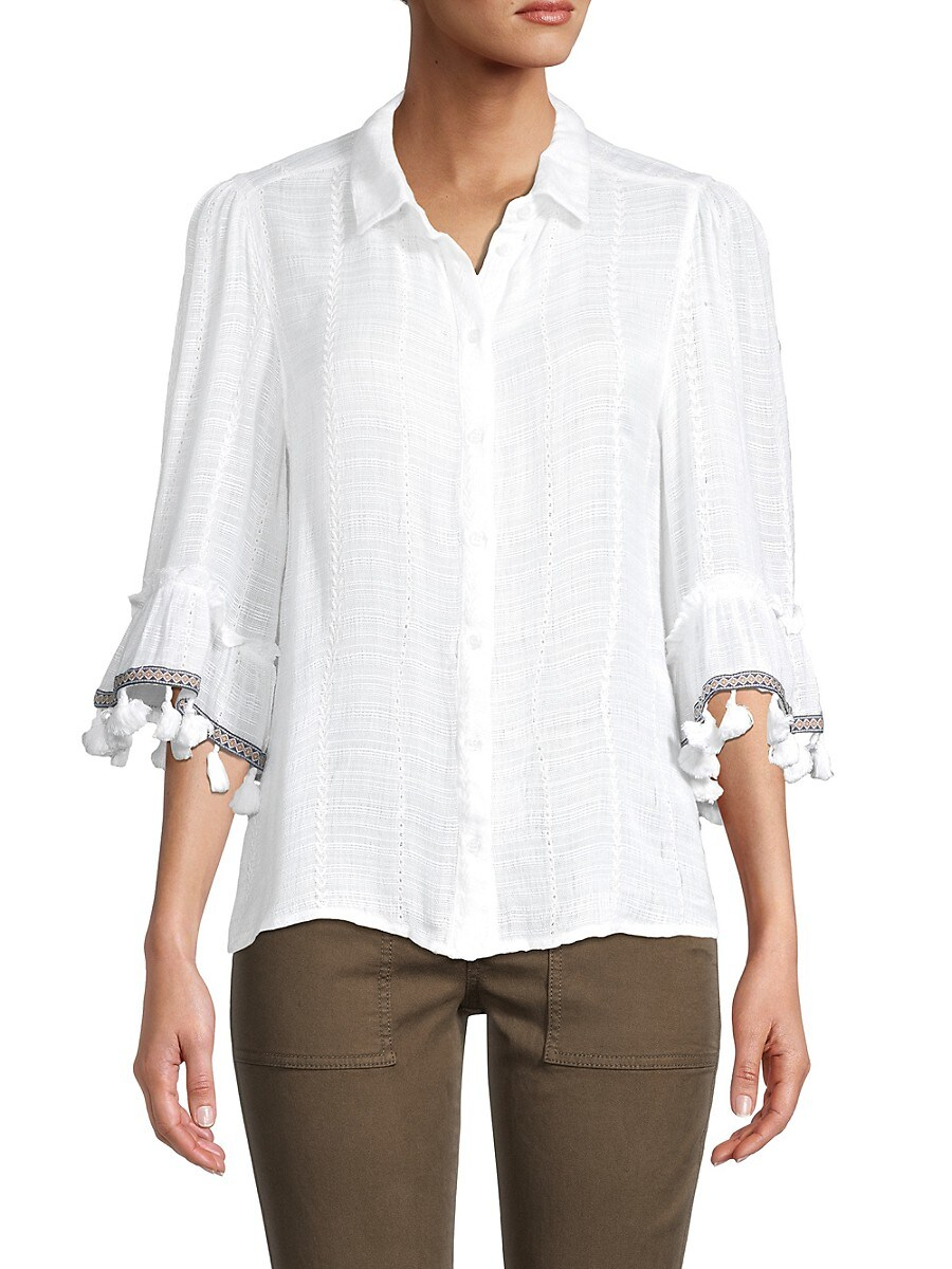 Women's Embroidered Fringed Blouse