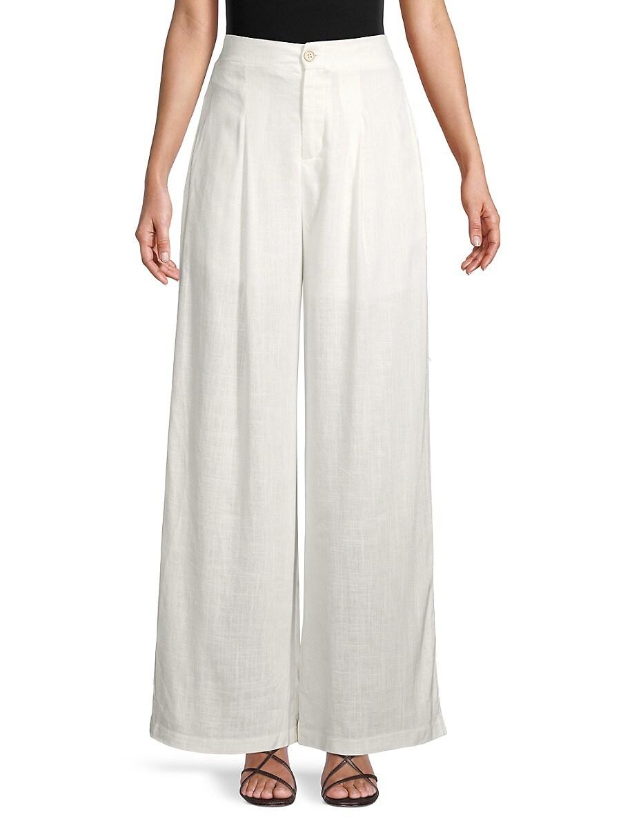 Women's Linen & Cotton Wide-Leg Pants