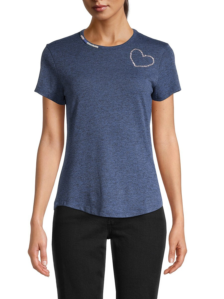 Women's Heart Embroidered T-Shirt