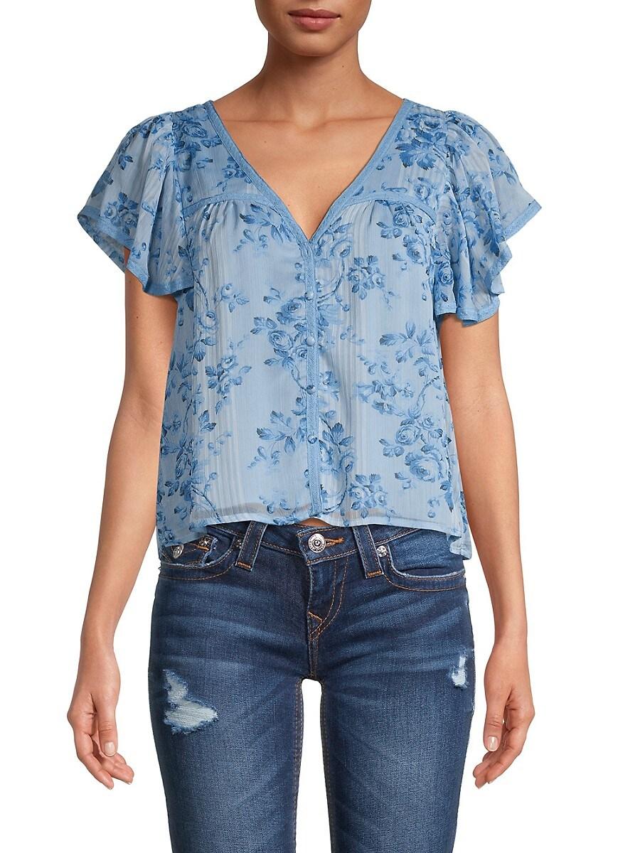 Women's Floral Flutter-Sleeve Blouse