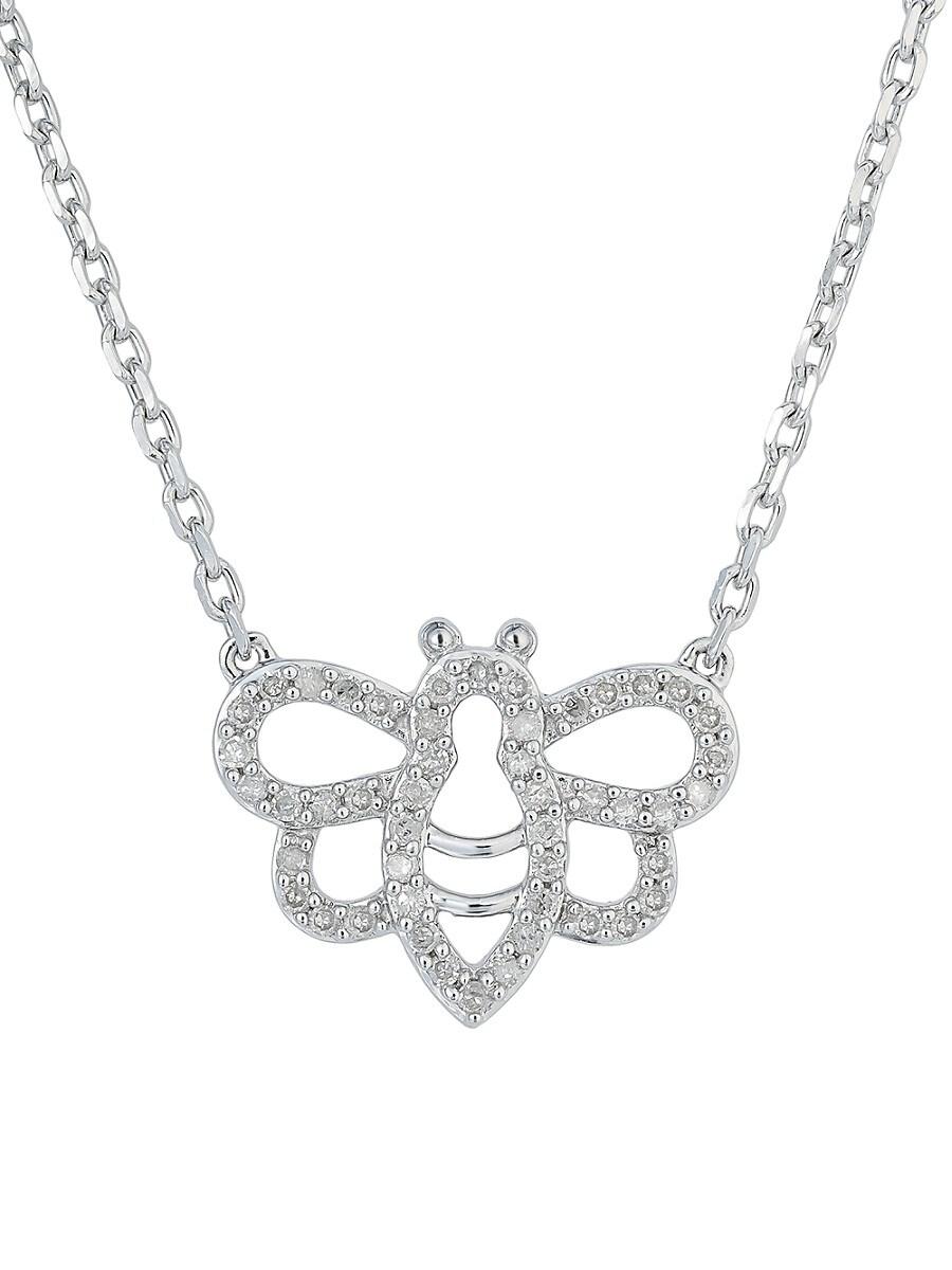 "Women's Bee Sterling Silver & 0.17 TCW Diamond Pendant Necklace/16"""