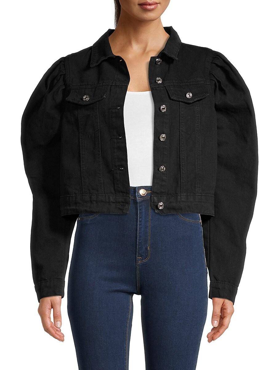 Women's Puff-Shoulder Cropped Denim Jacket