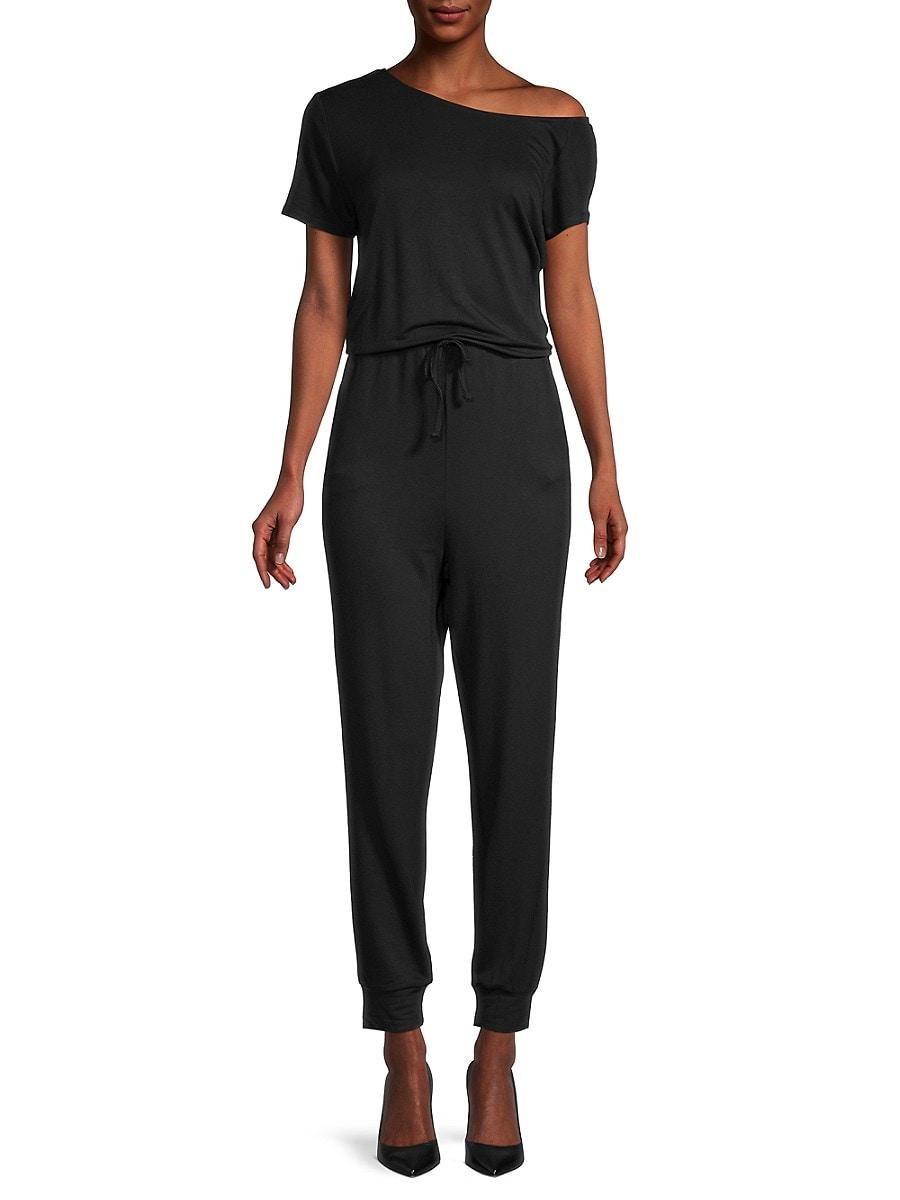 Women's Drawstring Short-Sleeve Jumpsuit