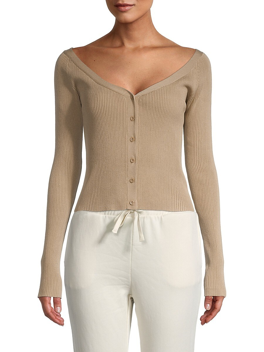 Women's Button-Front Rib-Knit Top